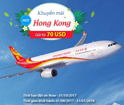 HongKong Airlines khuyến mãi vé máy bay giá rẻ khứ hồi đi Hong Kong