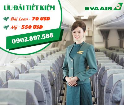 Eva Air khuyến mãi vé may bay giá rẻ đi Đài Loan và Mỹ