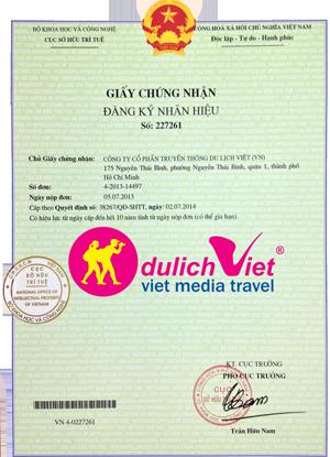 Giấy chứng nhận nhãn hiệu Du Lịch Việt do Cục sở hữu trí tuệ cấp