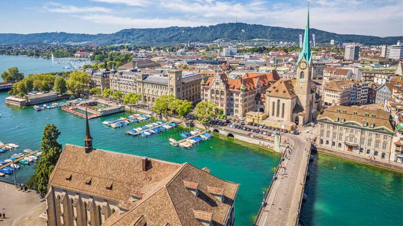 Thành phố Zurich là địa điểm du lịch Thụy Sĩ nổi tiếng