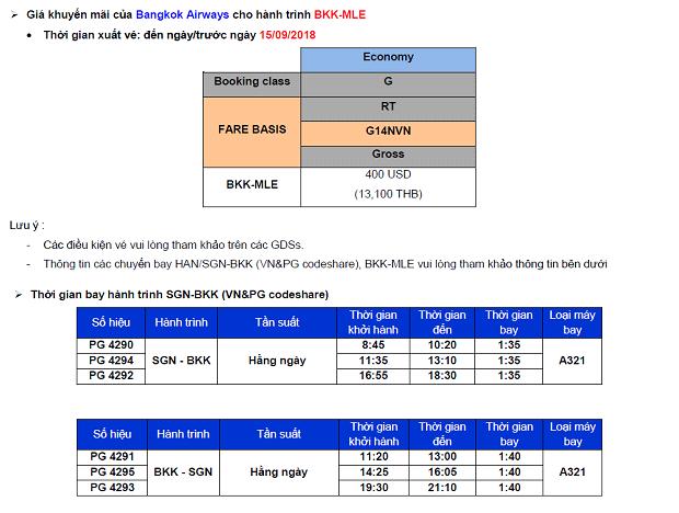 Hãng Hàng không Bangkok Airways giá khuyến mãi