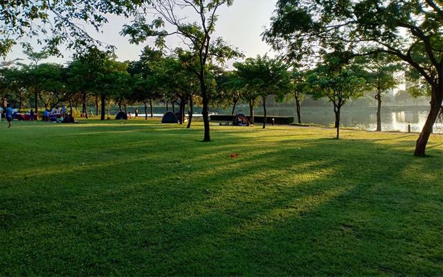 Check in trong không gian xanh mướt của công viên Yên Sở Hà Nội