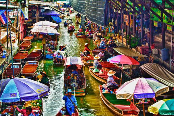 Du lịch Thái Lan khám phá chợ nổi Damnoen Saduak