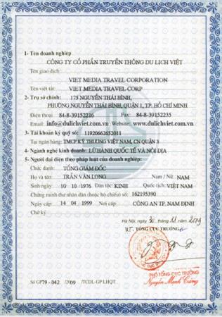 Mặt sau giấy phép kinh doanh lữ hoành quốc tế