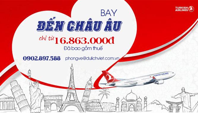 Turkish Airlines khuyến mãi vé máy bay giá rẻ đi Châu Âu