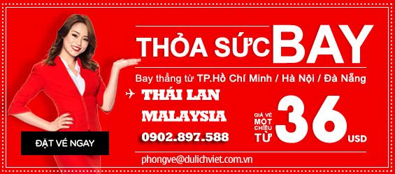 Air Asian khuyến mãi vé máy bay đi Thái Lan và Malaysia chỉ từ 36USD