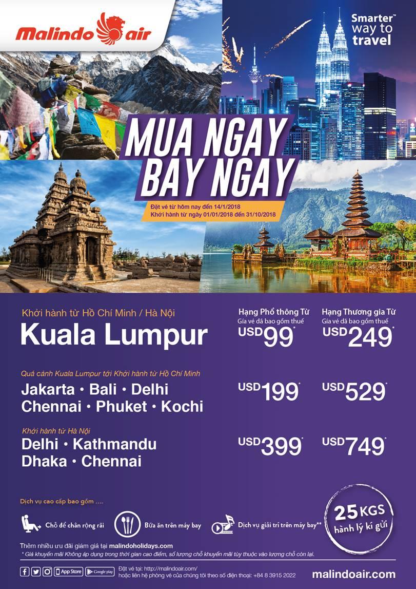 Malindo Air triển khai khuyến mãi bay Malaysia giá chỉ từ 99USD