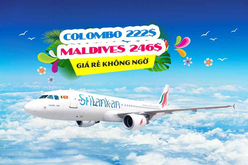 Srilankan Airlines khuyến mãi vé máy bay giá rẻ đi Colombo và Madives